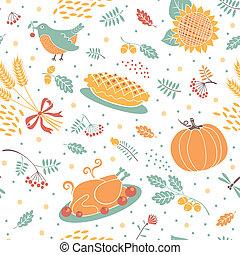 blé, modèle, seamless, feuilles, potirons, turkey.