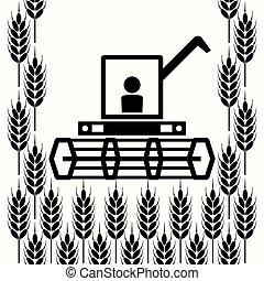 blé, moissonneuse, vecteur, combiner, icône, oreilles