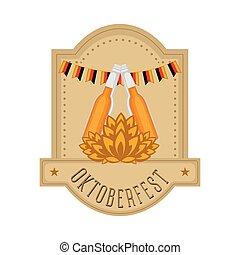 blé, oktoberfest, bouteilles bière, étiquette