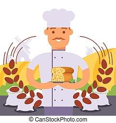 blé, patisserie, fond, magasin, boulanger, professionnel,...