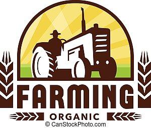 blé, retro, agriculture organique, crête, tracteur