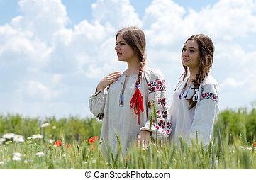 blé, ukrainien, jeune, deux, traditionnel, champ, femmes, robe, heureux