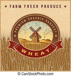 blé, vendange, récolte, coloré, étiquette
