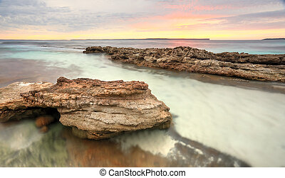 blød, pastel, farver, i, en, solopgang, hos, hyams, strand, australien