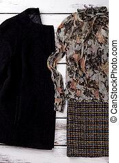 blúz, kasmír, jacket., fekete, women's