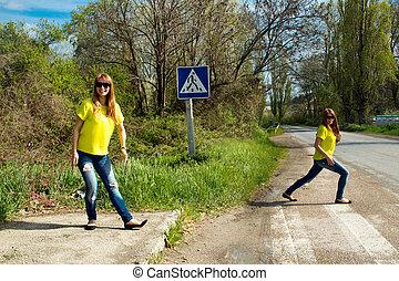 blúz, leány, sárga