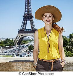 blúz, nő, fiatal, párizs, fényes, mosolygós, franciaország