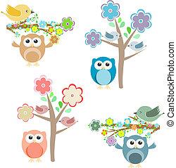 blühen, baum, und, zweige, mit, sitzen, eulen, und, vögel