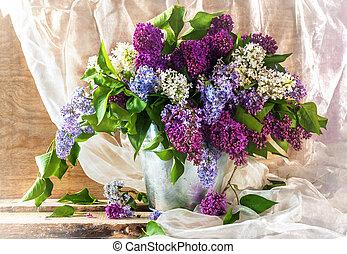 blühend, leben, noch, sprigs, lila