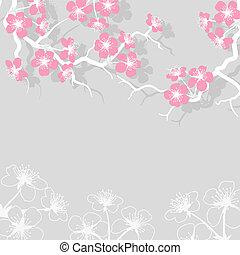 Blüte, kirschen, blumen, Stilisiert, Karte