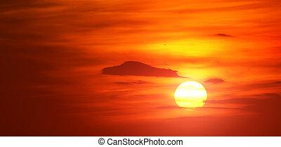 blýskavý červené šaty, východ slunce