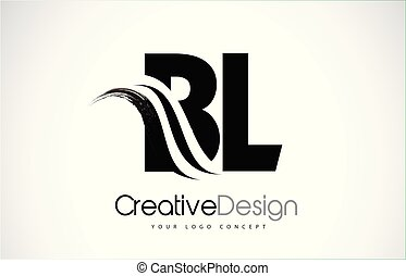 BL B L Creative Brush Black Letters Design With Swoosh - BL...