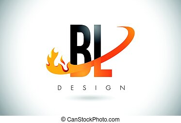 BL B L Letter Logo with Fire Flames Design and Orange...