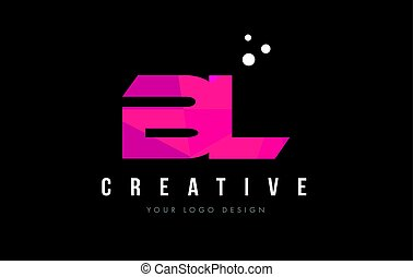 BL B L Letter Logo with Purple Low Poly Pink Triangles...