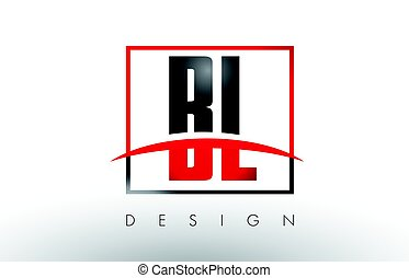 BL B L Logo Letters with Red and Black Colors and Swoosh....