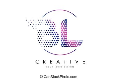 BL B L Pink Magenta Dotted Bubble Letter Logo Design Vector...