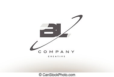 Bl B L Creative Brush Black Letters Design With Swoosh Bl B L