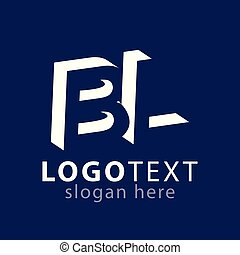 BL initial letter with negative space logo icon vector...