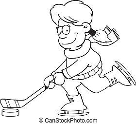 (bl, lód, grając hokej, dziewczyna, rysunek