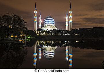 """bl, reflet, sultan, abdul, -, masjid, aziz, shah,..."