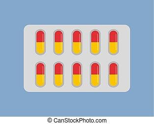 blaar, capsules, vrijstaand, gele, rood, pictogram