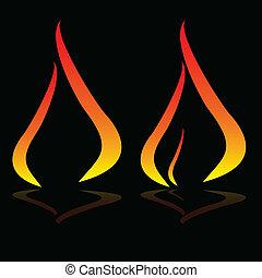 blac, flamme, illustration