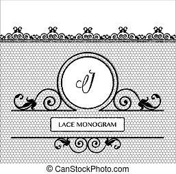 blac, k, monogram, dentelle, j