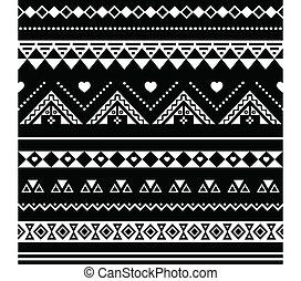 blac, model, van een stam, aztec, seamless