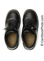 Blach School shoes - Black kid shoes isolated on the white...