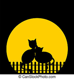 Blach silhouette cats against moon. Vector illustration