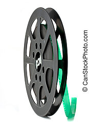black 16 mm film reel isolated on white