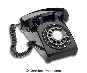 Black 1960s dial phone, isolated