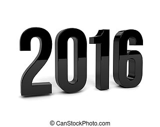 Black 2016 year on a white background. 3d rendered image.