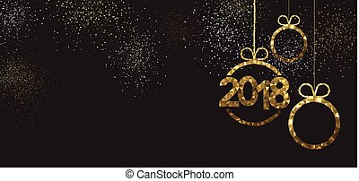 Black 2018 New Year banner with golden figures. Vector illustration.