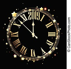 Black 2019 new year background with round golden shiny clock and stars. Vector illustration.