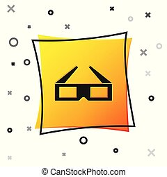 Black 3D cinema glasses icon isolated on white background. Yellow square button. Vector Illustration