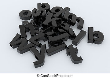 Black 3D letters - Black glossy 3D letters on white surface