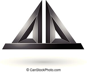 Black 3d Pyramidical Embossed Shape Vector Illustration