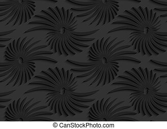 Black 3d abstract shapes with leaves