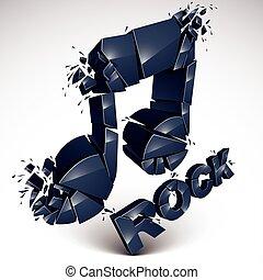 Black 3d vector musical note broken into pieces, explosion effect. Monochrome dimensional art melody symbol, rock music theme.