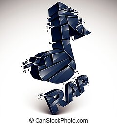 Black 3d vector musical note created from refractions isolated on white. Three-dimensional transform music theme design element. Rap music theme.