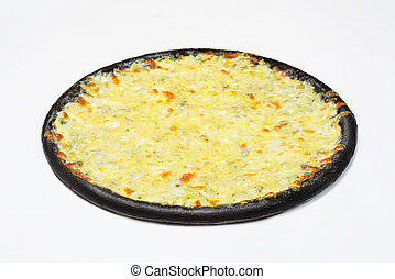 Black 4 Pizza cheese with white sauce on a white background