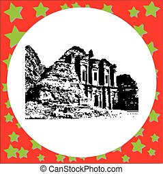 black 8-bit Al Khazneh - the treasury, ancient city of...
