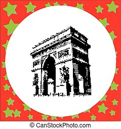 black 8-bit Arc de Triomphe at Paris France vector...