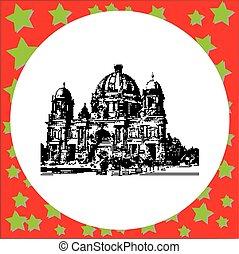 black 8-bit Berlin Cathedral Germany vector illustration...