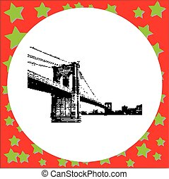 black 8-bit Brooklyn Bridge vector illustration isolated on...