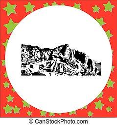 black 8-bit Machu Picchu in Peru vector illustration...