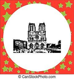 black 8-bit Notre Dame cathedral on Ile de la Cite in Paris, France vector illustration isolated on white background