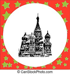 black 8-bit Saint Basil's Cathedral in Moscow vector illustration isolated on white background