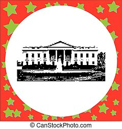 black 8-bit the White House vector illustration isolated on white background